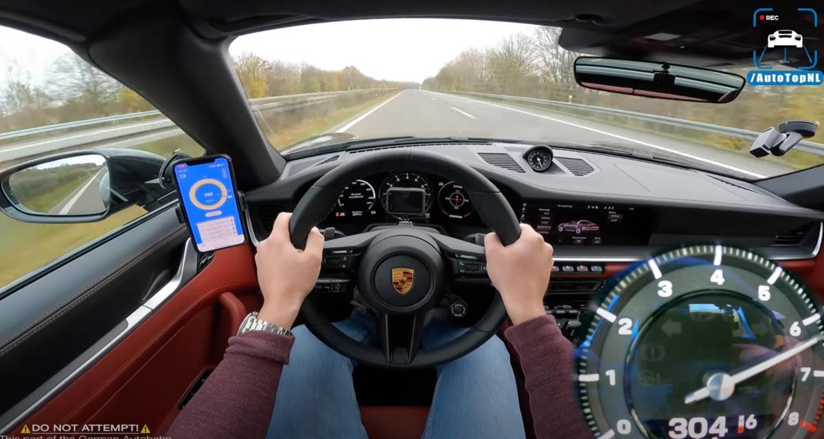 À plus de 300 km/h au volant d'une Porsche 911 Targa 4S qui a de la puissance à revendre