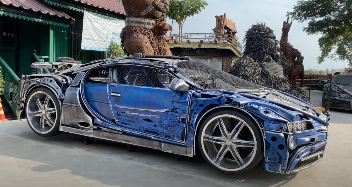 Le Scrap Metal Art Thailand expose une Bugatti Chiron à base de ferraille