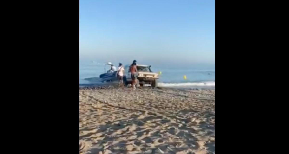 L'idiot du jour : il met son bateau à l'eau avec son 4x4 et forcément ça tourne mal