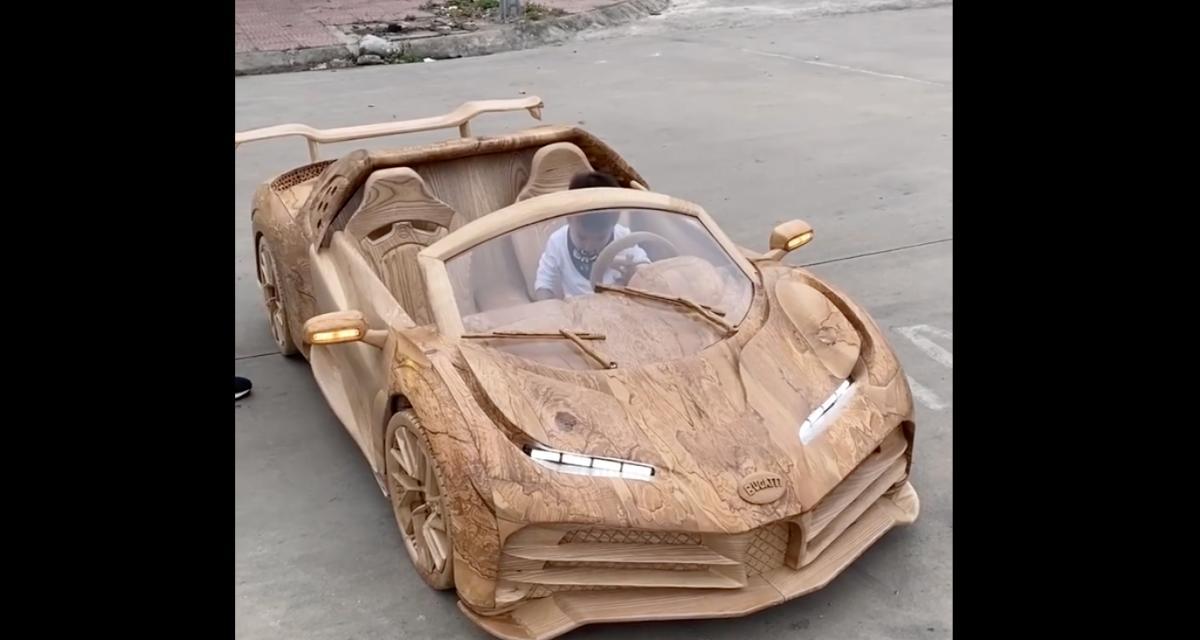 VIDEO - Il construit une Bugatti Centodieci en bois pour son fils et le résultat est hallucinant