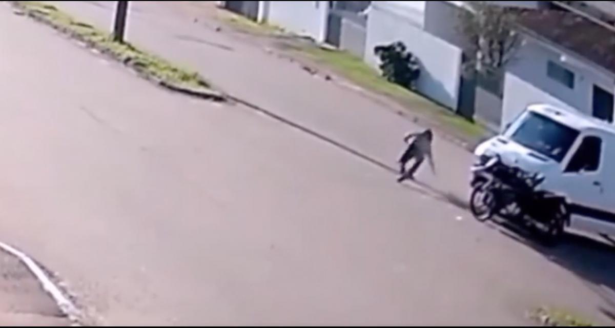 Percuté par un camion, le motard se rattrape avec un magnifique salto avant et s'en sort indemne