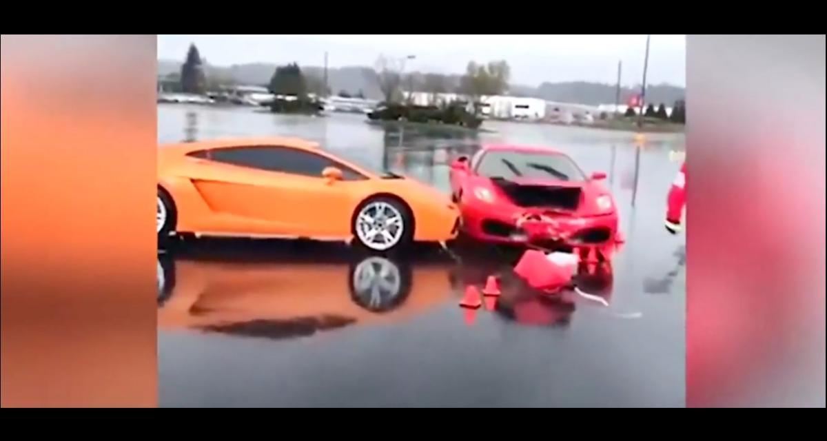 VIDEO - Quand une Ferrari emboutit une Lamborghini, ça coûte cher en assurance