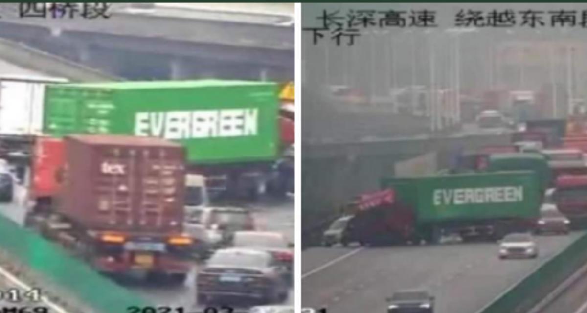 """Quand un camion de livraison """"Evergreen"""" imite le porte-conteneurs qui a bloqué le canal de Suez"""