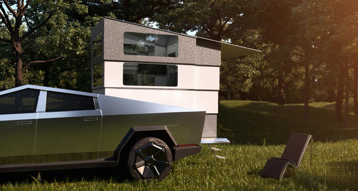 Cyberlandr : un camping car pop-up pour le Tesla Cybertruck