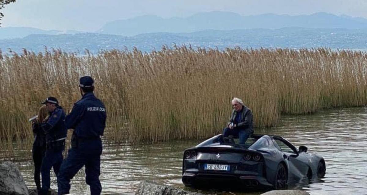 Il ne serre pas le frein à main de sa Ferrari 812 GTS, cette dernière termine dans un lac en Italie