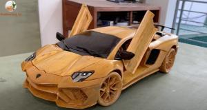 VIDEO - Cette Lamborghini Aventador S Made in France sculptée directement dans du bois est une véritable œuvre d'art
