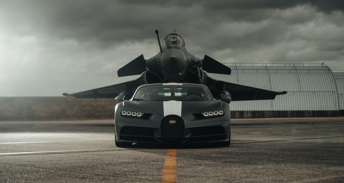 VIDEO - La Bugatti Chiron a enfin trouvé un adversaire à sa hauteur : un avion de chasse Rafale !
