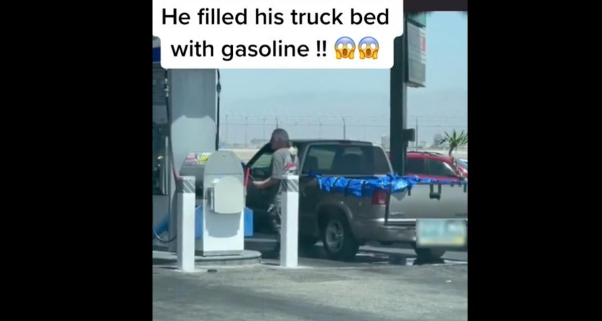 VIDEO - Il remplit la remorque de son pick-up avec de l'essence
