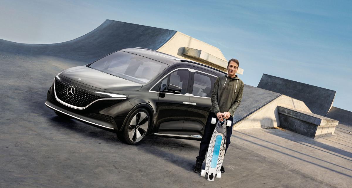 Mercedes fait appel à une légende du skate pour faire la promo de son ludospace électrique, le concept EQT