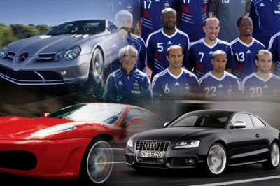Les bolides des joueurs de l'équipe de France de football