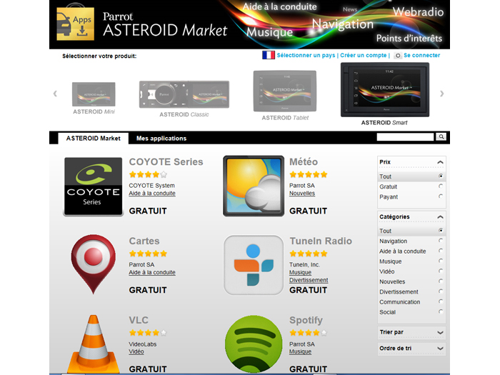 Applications Parrot Asteroid Smart