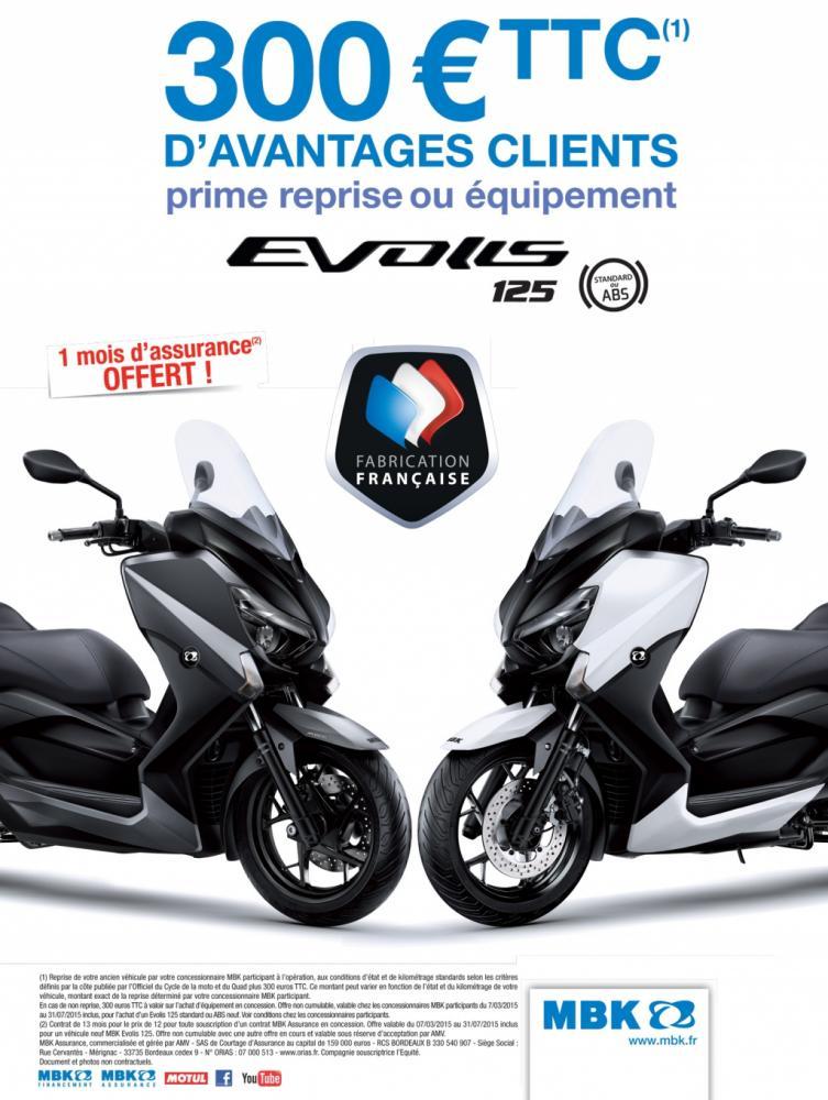 MBK Evolis 125 et 400 : promo reprise, assurance et accessoires