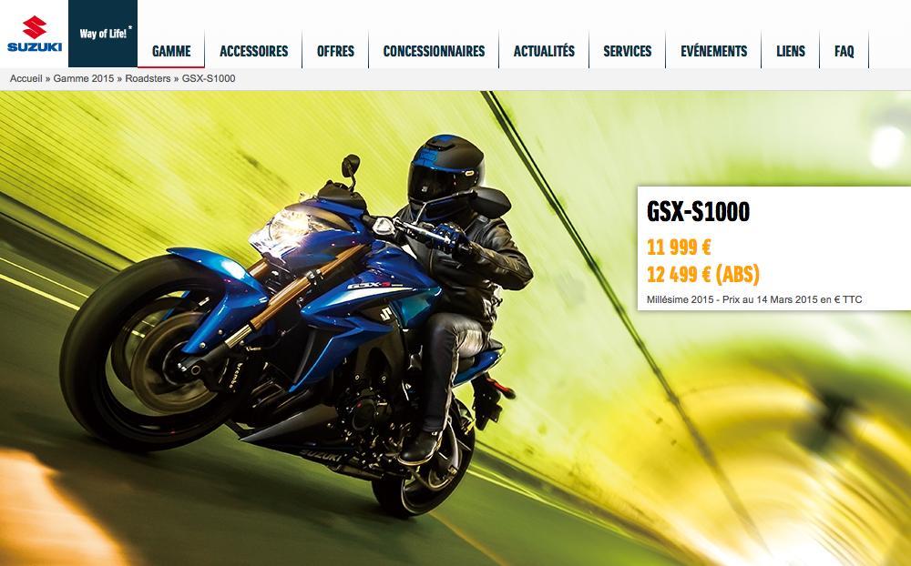 Suzuki GSX-S 1000 et GSX-S 1000 F : le tarif